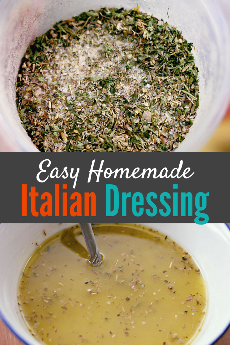 This super simple and easy homemade italian dressing mix is so tasty and so simple that you will never buy store bought dressing again! You can keep this italian dressing mix in your pantry and whip up fresh italian dressing whenever you want! #italiandressingrecipe #italiandressingmix #italiandressingfromscratch