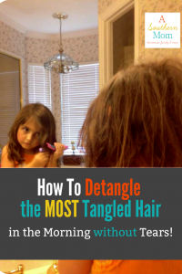 Does your daughter have the most tangled hair you have ever seen? Do her hair tangles make for stressful mornings every single day? Would you love to find a more gentle and simple way to deal with those tangle monsters that seem to creep up over night? I'm going to show you how we do it, and maybe it will work for you and your little one too! (I also use the same things on myself, and I NEVER deal with tangles anymore either!)