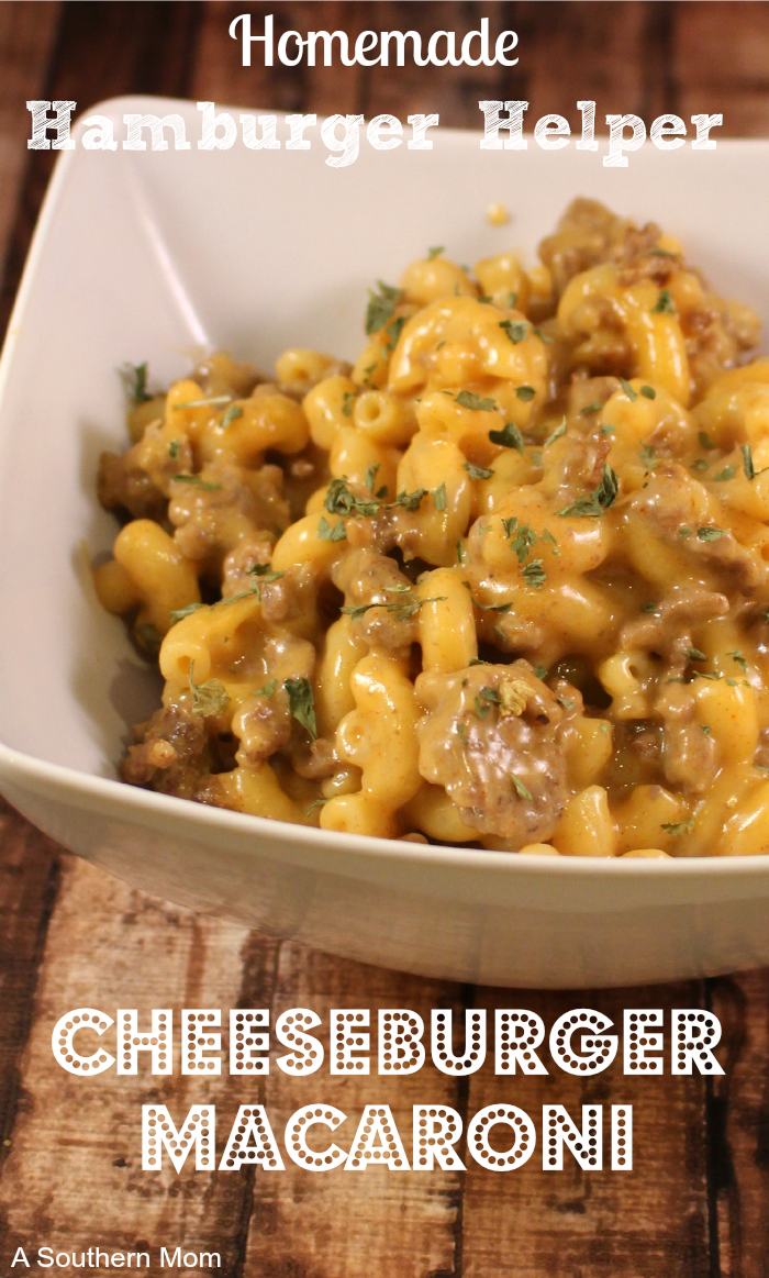 This super easy homemade cheeseburger macaroni is a perfect Hamburger Helper Copycat Recipe! This made from scratch cheesy pasta recipe is made from ingredients you likely have in your pantry/refrigerator right now! You will most definitely ditch the box when you see how easy this copycat cheeseburger macaroni recipe is! #copycatrecipes #copycathamburgerhelper #copycatcheeseburgermacaroni #easyweeknightdinner