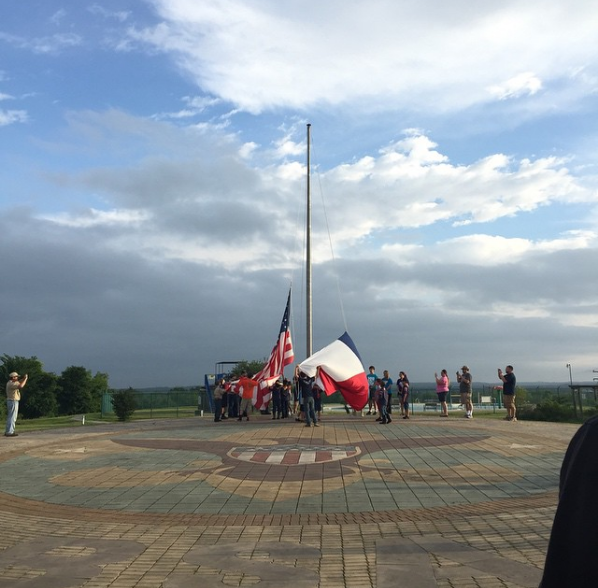Flag ceremony at Bovay Scout Camp
