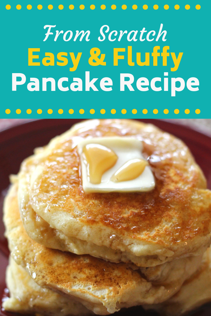 Do you love pancakes? Your family will adore this Easy From Scratch Pancake Recipe! These are simple enough to make for breakfast and they definitely are a hit when you whip these up for breakfast for dinner! Is there ever really a bad time to eat pancakes?
