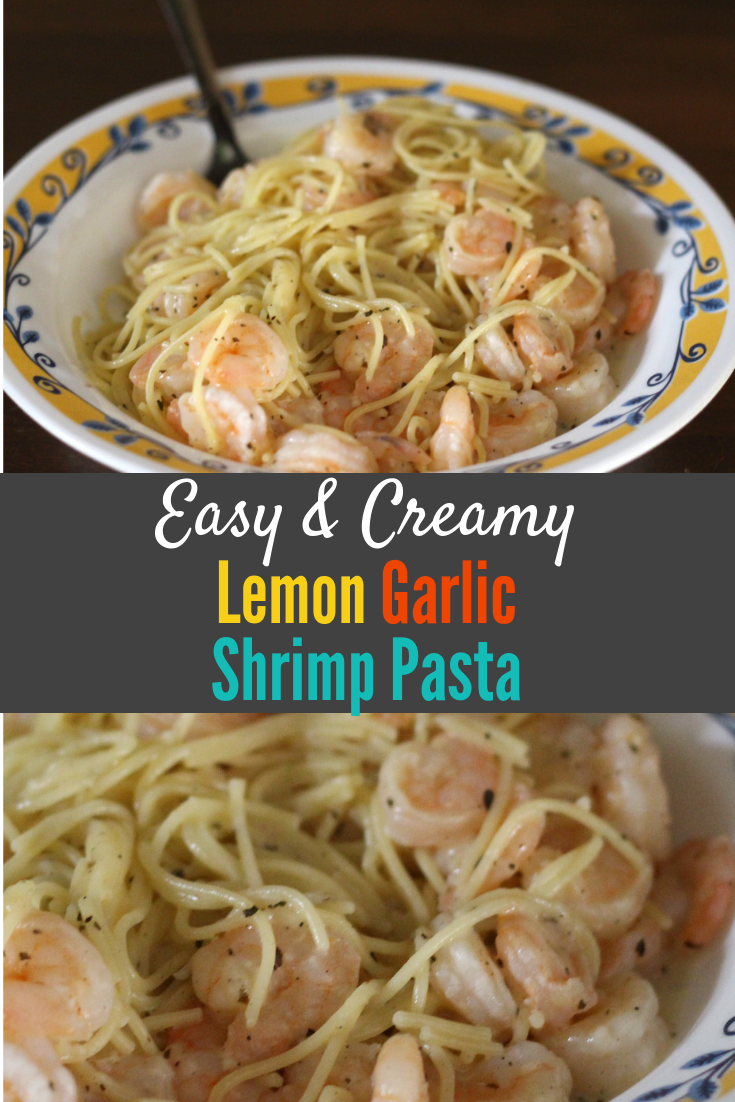 This Easy Creamy Lemon Garlic Shrimp Pasta is perfect for special occasions, date night, a meal to impress and entertain a crowd or even for a random clean out the pantry/freezer rainy/snowy day/kids unexpectedly out of school lunch! Inexpensive and quick, but tastes like a million bucks!